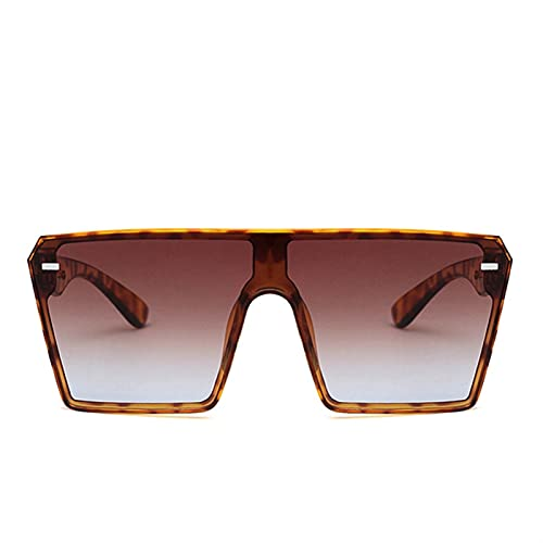 2020 Moda Súper Grandes Gafas De Sol Cuadradas Retro Graduado Graduado Grande Sombrilla De La Sombrilla Para Mujer Integrated Plus Sleeper Transparent Lens (Lenses Color : Leopard Brown)