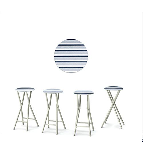 "Best of Times 13169W2410 Garage Metal 30"" Padded Bar Stools-Set of (4), Black"