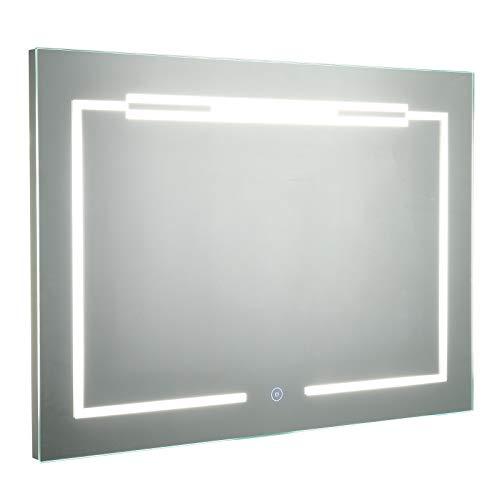 kleankin LED-Spiegel 70 x 50 cm, Wandspiegel, Badspiegel, Anti-Beschlag, Touch-Schalter, Alu, Silber, Energieklasse A++