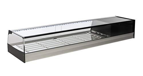 Vetrina refrigerata da banco bar per tapas 156 cm Vetro Retto - Gruppo incorporato - Illuminazione LED - Colore Grigio Argento - Vetrina Espositore Refrigerata Professionale - 1566 x 410 x 250 mm