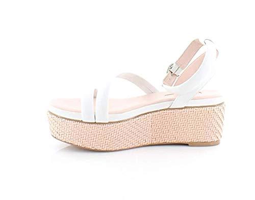 Avec Les Filles Womens Ava Leather Woven Platform Sandals White 9.5 Medium (B,M)
