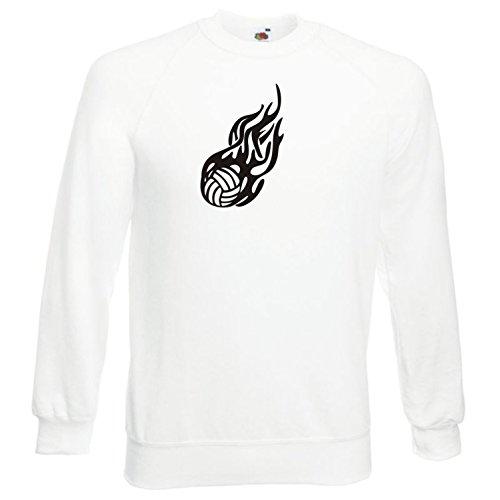 Black Dragon - Sweatshirt Herren & Damen weiß - XL - Fruit of The Loom - Bedruckt - Flaming Volleyball - Fasching Party Geschenk Funshirt
