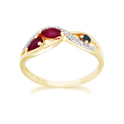 Yellow Gold Ruby Ring 9k Real Pear 5x3 mm And 9 Round Diamond Promise Ring Size 7 Contemporary Infinity Jewelry Design For Women July Birthstone Engagement Anniversary Band