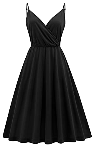 V Neck Spaghetti Strap Cotton Dress with Pockets Women Black T Shirt Casual Dress