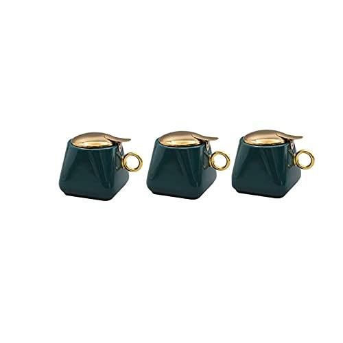 Tangrenlintlh Botes Cocina Almacenaje Cuencos de azúcar de cerámica Condiment Potes, con Bandeja, Adecuado para Cocina, Color: Verde, Tamaño: 9cm * 9cm * 9cm, 2/3 PCS (Size : A)