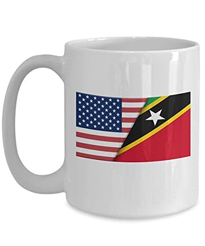 Weiße Kaffeetasse mit USA-Saint Kitts Nevis-Flagge
