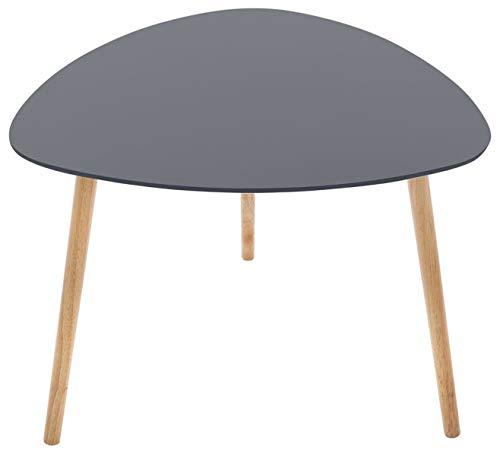 PEGANE Table à café Gris foncé en MDF et chêne - Dim : L. 60 x l. 60 x H. 45 cm