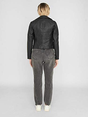 NAME IT Nmrebel L/s PU Jacket-Noos Chaqueta, Negro (Black), 38 (Talla del Fabricante: Small) para Mujer