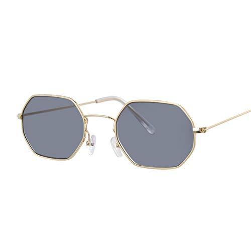 NJJX Gafas De Sol Vintage Para Mujer Con Montura Metálica Clásica, Gafas De Sol Hexagonales Con Espejo De Moda Para Mujer, Gris Dorado