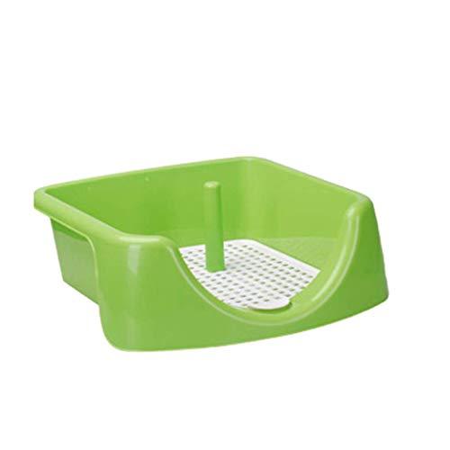 Caja de Arena para Gatos práctica y fácil de Limpiar NSYNSY - Inodoro para Mascotas pequeño, Orinal Cuadrado para Entrenador, Orinal para Mascotas cercado de plástico para Interiores con Poste para o