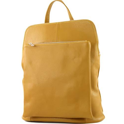 modamoda de - T141 - ital Damen Rucksacktasche 3in1 aus Leder, Farbe:Senfgelb