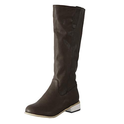 Stivali Donna Moda Pelle Tacco Basso Scarpe con Punta Tonda Slip-On Comodo Western (38,Marrone)