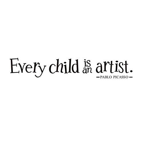 Foxlove Cada niño es un Artista Calcomanía de Pared para niños Calcomanía de exhibición de Arte con Cita Calcomanía de Vinilo para Pared o Parachoques.