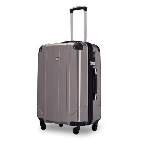 QWEPOI Maleta rígida de viaje con candado TSA y asas, tamaño mediano, color negro, exterior y gris