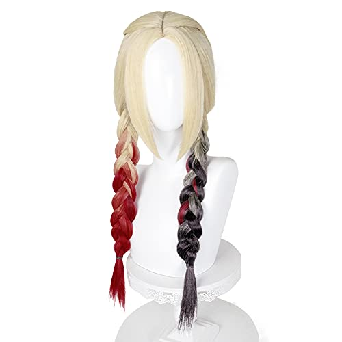 Long Red and Black Braided Wig with Pigtails Curly Wavy Ombre 2 Tone Lolita Hair Colorful Halloween Party Wigs with Cap - L9205R