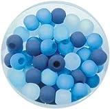 Creative-Beads Polarisperlen Mischung 50 Perlen 6mm blautöne, für selbstgemachte Ketten,...