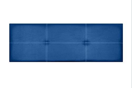 Cabecero de Cama Modelo Paris, en Doble Costura y tapizado en Polipiel Ahazar. Altura 50cm. Pro Elite. Color Azul. para Cama de 90 (Medidas 100x50x5) Pro Elite.