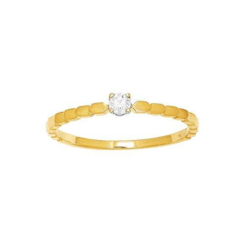 LuckyOneBijoux.com Anillo Moscú de oro amarillo de 18 quilates con diamante solitario
