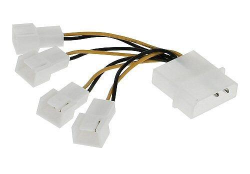 Adapter Lüfter-Stromanschluss 12 Volt 4-Pol-Molex auf 4x 12 Volt 3-Pol-Molex