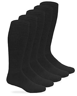 Jefferies Socks Mens Military Half Cushion Wool Combat over the Calf Boot Socks 6 Pair Pack (Sock:10-13/Shoe:9-13, Black)