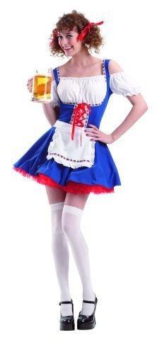 Foxxeo Dirndl Costume Dirndl Blu Bianco per Signore Costume Bayern Oktoberfest Oktoberfest Oktober Gr. S - M, Taglia: S
