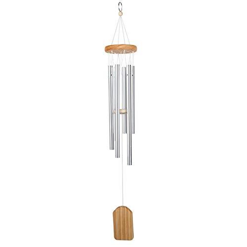 SZBLYY Windspiele Windspiele im Freien Wohnzimmer Home Hof Garten Pfeife Glocken Aluminiumlegierung Resonanz 6 Rohrtür Hängende dekorative Windspiele (Color : Silver)