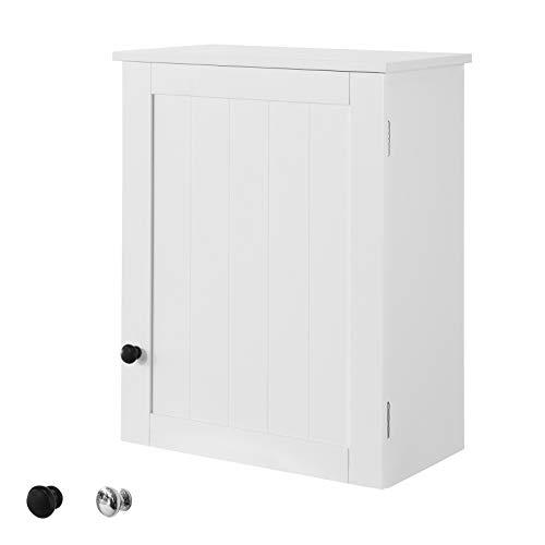 SoBuy BZR19-W Hängeschrank mit Einer Tür Wandschrank Badhängeschrank Küchenschrank Medizinschrank Badmöbel Weiß BHT ca: 40x52x23cm