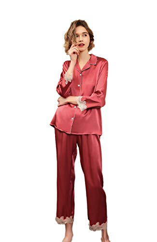 Women's Pure Silk Pajamas Set Long Sleeve Lace Sexy Nightdress Pink S