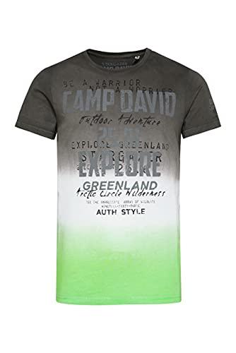 Camp David Herren T-Shirt mit Farbverläufen und Logo Prints