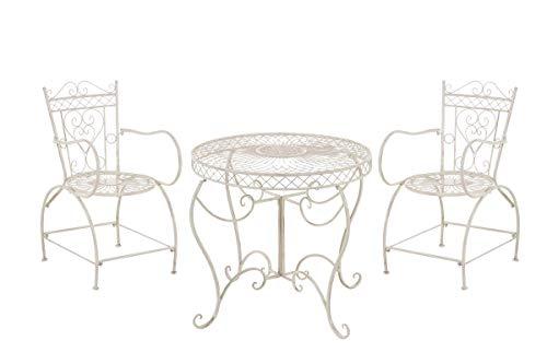 CLP Garten-Sitzgruppe Sheela I Garten-Set Aus Lackiertem Eisen: 1 Tisch Und 2 Stühle I Antike Gartenmöbel Im Jugendstil, Farbe:antik-Creme