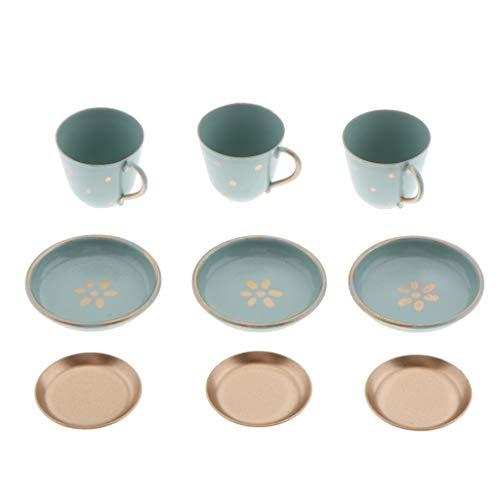LOVIVER 9pcs Miniatur Puppenhaus Geschirr Tee Set Tasse Teller, 1:6 Puppenhaus Küche Zubehör