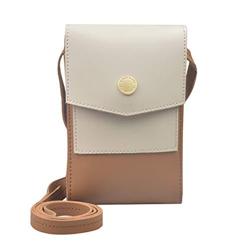 BELOCA Kleine Handy Crossbody Tasche für Frauen Mini Multifunktions Crossbody Umhängetasche Mädchen Damen Handy Geldbörse (Beige)