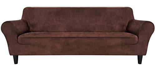 MR.COVER Sofabezug 3 Sitzer, Sofa Überzug Braun, Sofaüberwurf Dehnbar&Verschleißfestig aus Polyester, Rutschfestes Sofa Cover, Haustierfreundliche Sofahusse(für 190~230cm lang 3-Sitzer Sofa)