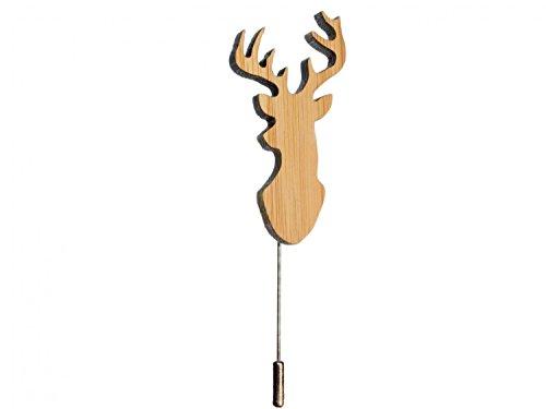 Miniblings Hirsch Brosche Krawattennadel Hirsche Geweih Jagdmotiv REH Holz - Handmade Modeschmuck I Anstecknadel Button Pins