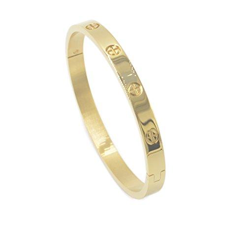 Luxus vergoldeter Edelstahl einfacher Stil Liebe Armreif Armband för Frauen(Gold in Größe 16)