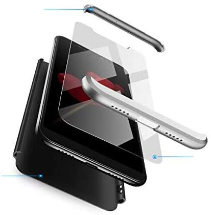 AKC Coque Compatible Samsung Galaxy Note 10 Plus Mince Cover 360°Protection Con 2* Verre Trempé Housse Anti Chuter Anti-Rayures Hard Case-Noir Argent