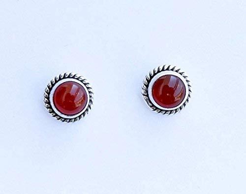 925 Sterling Silver Orange Carnelian Stud Post Earring Gemstone Earring 6 MM Round Gift