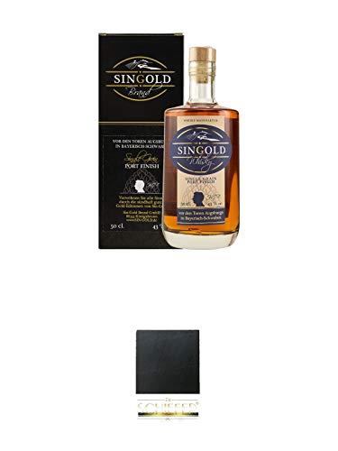 Singold Single Grain Whisky Port Finish Deutschland 0,50 Liter + Schiefer Glasuntersetzer eckig ca. 9,5 cm Durchmesser