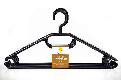 Spetebo Kleiderbügel 20er Pack in schwarz - extra schwere Qualität (45g pro Bügel) - mit Anti-Rutsch-Rillen und Krawatten- bzw. Gürtelhalter