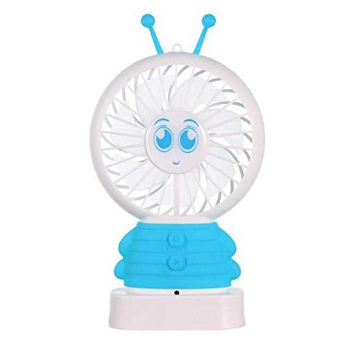 WFQDT Ventilador de Escritorio Ventilador USB portátil Lindo Ventilador de luz Nocturna Carga USB Mini Abeja Lámpara portátil de Mano Radiador de refrigeración Regalo Azul