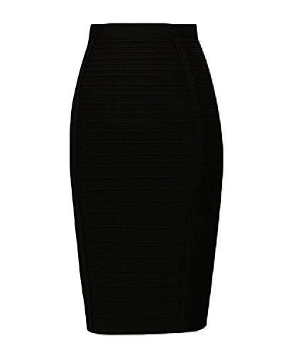 whoinshop Women's Stretchy Slim Fit Midi Pencil Skirt with Zipper Black L