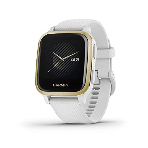 Oferta de Garmin Venu Sq, Reloj Inteligente con GPS, Blanco y Dorado