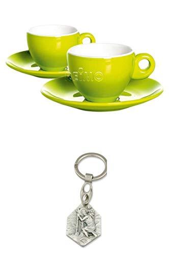 Zisa-Kombi Melamin Espresso-Tassen 4-teiliges Set für 2 Personen, Limegrün, 100ml, Gimex (932988917093) mit Anhänger Herz Jesu 2,5cm
