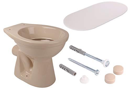 Calmwaters® - Stand-WC als Tiefspüler mit waagerechtem Abgang im Set mit Schallschutz und WC-Befestigungsset - 99000213
