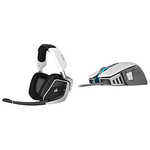 Corsair Gaming Void RGB Elite Wireless Premium Gaming Headset with 7.1 Surround Sound, White & M65 RGB Elite - FPS Gaming Mouse - 18,000 DPI Optical Sensor - Adjustable DPI Sniper Button - White