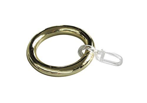 Gardinenringe/Vorhangringe mit Faltenhaken, Ringe für Gardinenstangen/Vorhangstangen - 10 Stück Kunststoff - Ø 39 x 55 mm - messing glänzend lackiert