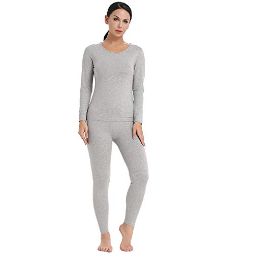 Pyjama Damen Nachthemd Schlafanzug Womens Cotton Thermal Unterwäsche Long Set Intimates Sexy Damen Kleidung Pyjamas Set Thermal Set M Grau