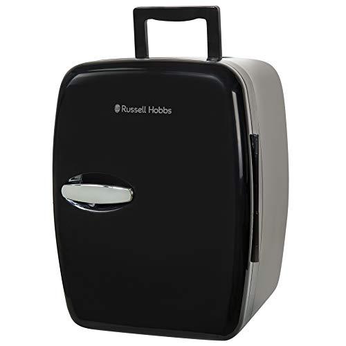 Russell Hobbs Mini Fridge RH14CLR4001B 14 Litre/14 Can Mini Portable Cooler & Warmer for Drinks, Cosmetics/Makeup/Skincare, AC/DC Power, Retro Style, Black, For Bedroom, Home, Caravan, Car