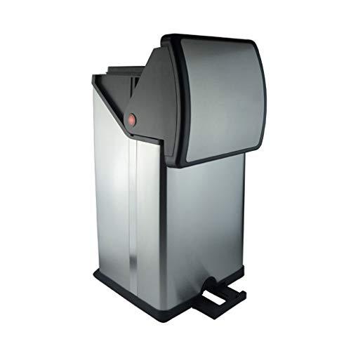 Cubo de Basura Bote de basura Bote de basura de estilo europeo Caja de almacenamiento de estilo europeo para el hogar con tapa Acero inoxidable cepillado + Bote de basura de material plástico PP (30L)