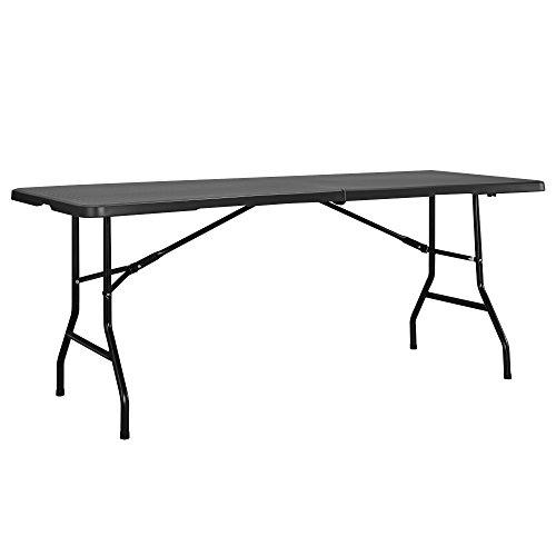 [casa.pro] Mesa para jardín plegable gris oscuro para cámping, terraza, balcón